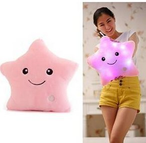Beautiful Bling Cute Glowing Colorful Luminous LED Star Plush Pillow Stuffed Toys (Pink)