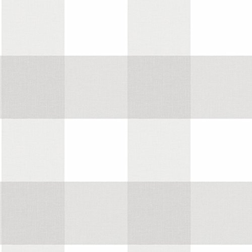 NuWallpaper NU2691 Farmhouse Plaid Peel and Stick Wallpaper, Grey ()
