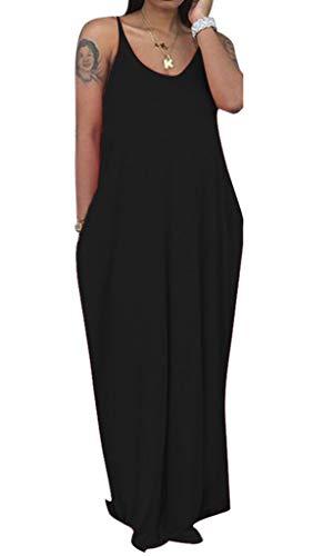 Bodycon4U Womens Summer Nursing Maternity Spaghetti Strap Dresses Casual Deep V Neck Loose Maxi Dress Black