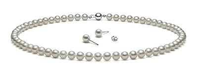 "{Set} HinsonGayle AAA Handpicked White Freshwater Cultured Pearls & Stud Earrings Silver 18"""