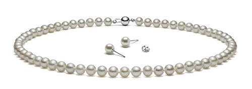 {Set} HinsonGayle AAA Handpicked White Freshwater Cultured Pearls & Stud Earrings Silver 18 inch