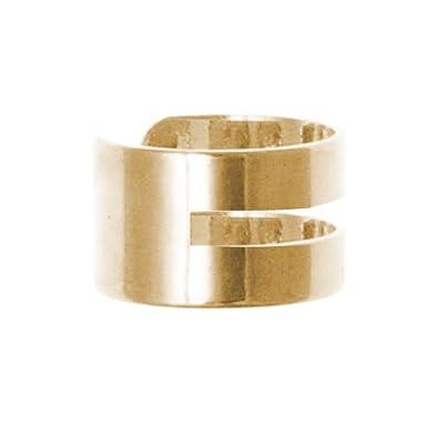 Double 9ct Yellow Gold Ear Cuff (non-pierced) clip on helix earring DbYg5t