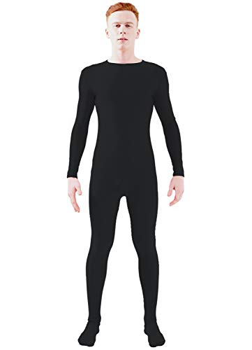 Ensnovo Adult Lycra Spandex One Piece Unitard Full Bodysuit Costume Black, L -