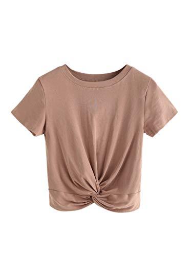 MAKEMECHIC Women's Summer Crop Top Solid Short Sleeve Tie Front T-Shirt Top Plus Khaki ()