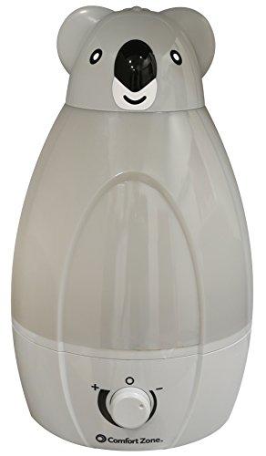Comfort Zone 1 Gallon Humidifier w/Koala and Elephant Spouts, ULTRASONIC Cool Mist, Gray