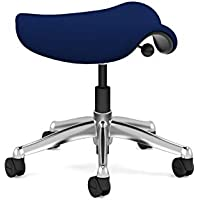 Freedom Saddle Task Stool by Humanscale: Locking Casters - Standard Cylinder Height - Wave Pattern Textile - Polished Aluminum Frame/Navy Wave Fabric