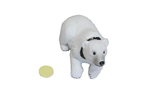 Fuzzy Bobblehead Polar Bear with Car Dashboard Adhesive