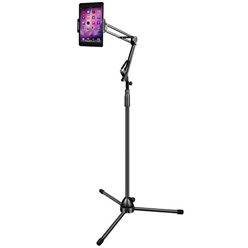 Nugorise Tripod Smartphone Tablet Floor Stand, Adjustable Cell Phone Stand with Long Arm, Compatible Lamp Design Standing Holder for 4