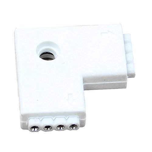 Shaped Track Connector - SODIAL(R) 1pc White RGB L Shaped 4 Pins 2 Way Female Connector Adapter For 3528 5050 LED Strip Light
