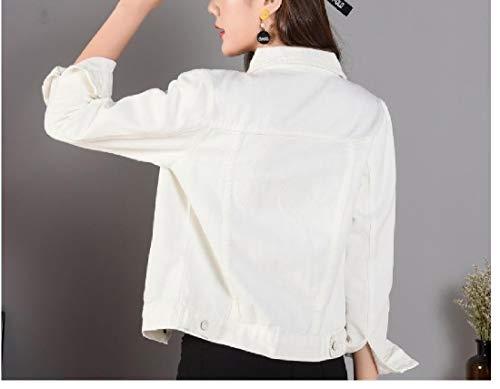 Women's XINHEO Denim Boyfriend Coat Wrap White Sleeve Relaxed Long Outerwear TAZAwdpq