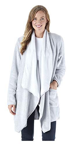 Sleepyheads Women's Fleece Long Sleeve Wrap Robe Cardigan with Pockets, Light Grey (SH1450-4068-L/XL)