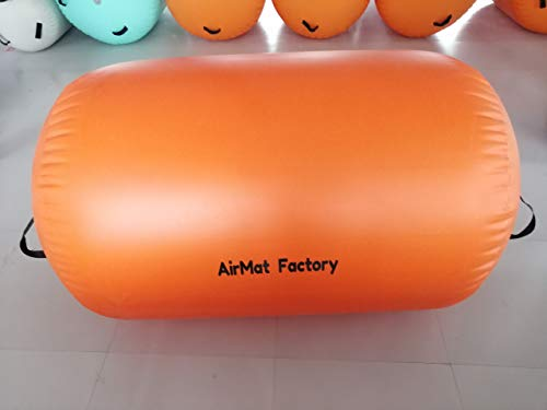 "AIRMAT FACTORY Air Rollers Gymnastics Airtrack – Inflatable Air Track Tumbling Mat with Air Pump for Gym and Home Use, Air Barrel Mat for Gymnastics Training (Orange, D=36""(90cm) L=48""(120cm))"