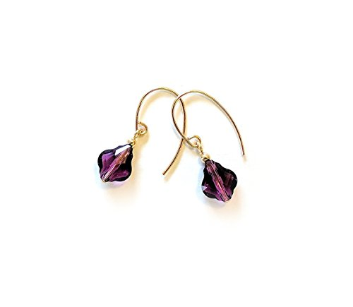 Amethyst earrings - with faceted Swarovski Baroque crystals and gold filled ear wires - a lovely gift for her!