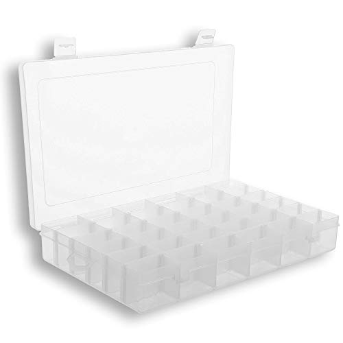 (Plastic Organizer Box with Dividers | 36 Compartment Organizer | Jewelry Organizer Box | Clear Organizer Box for Bead Storage, Letter Board Letters, Fishing Tackle)
