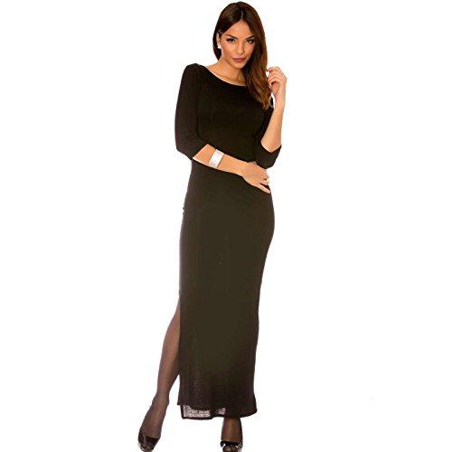 Miss Wear Line - Longue robe noir manches 3/4, fendu sur le côté