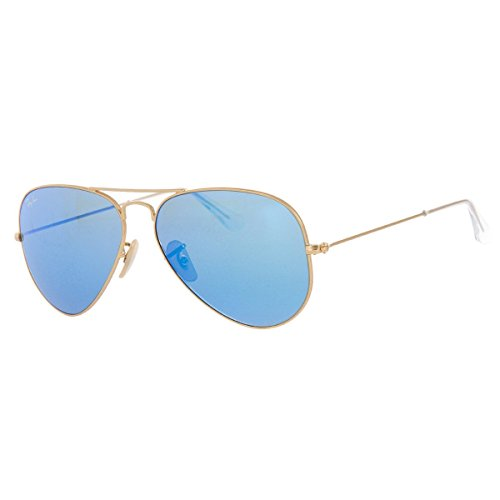 Ray-Ban 3025 Aviator Large Metal Mirrored Non-Polarized Sunglasses, Gold/Blue Flash (112/17), 62 - Flash Ban Ray Blue
