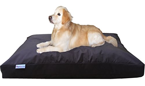 (Dogbed4less Jumbo Large Memory Foam Pet Bed Pillow with Waterproof Liner and Super Duty Nylon Cover for Big Dog 55X47 Inches, Seal Brown)