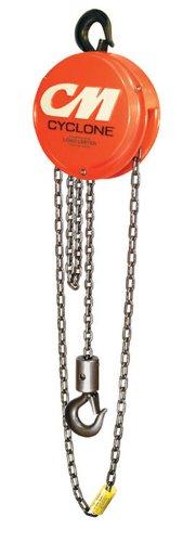 Columbus McKinnon 4627 Cyclone Hand Chain Hoist with Hook, 3 ton Capacity, 10' Lift Height