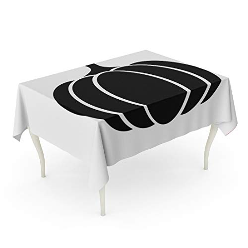 Tarolo Rectangle Tablecloth 60 x 90 Inch Silhouette Pumpkin Squash for Halloween Thanksgiving Flat Apps and Websites Pumkin Black Outline Table Cloth