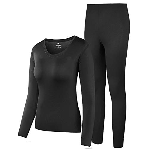 HEROBIKER Thermal Underwear Women Ultra-Soft Set Base Layer Top & Bottom Long Johns with Fleece Lined(L, Black)