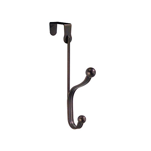 InterDesign York Lyra Over Door Organizer Hook for Coats, Hats, Robes, Clothes or Towels – Dual Hook, Bronze