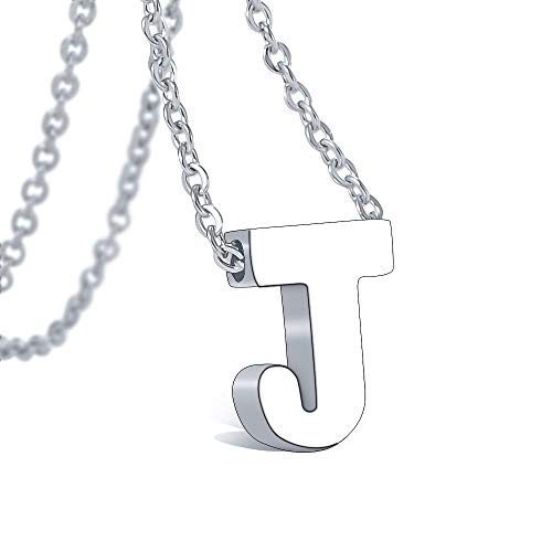 316 Steel Necklace - Bala Initial Letter Necklace 316 Stainless Steel for Women Wedding Initial J