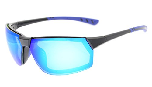 Eyekepper Polycarbonate Polarized TR90 Unbreakable Sport Sunglasses For Men Women Baseball Running Fishing Driving Golf Softball Hiking Black Frame Blue Mirror