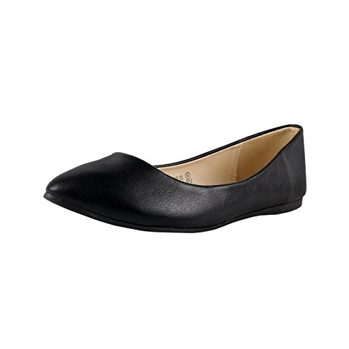 Bella marie Angie-52 Women's Classic Pointy Toe Ballet PU Slip On Flats Black 9