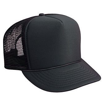 Otto Polyester Foam Front 5 Panel High Crown Mesh Back Trucker Hat - - Foam Baseball Cap