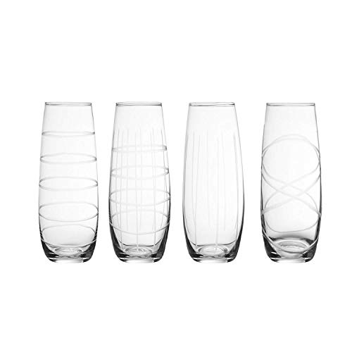 (Metro Set OF 4 Glass Stemless Flutes For Water Wine Juice Champagne And More)