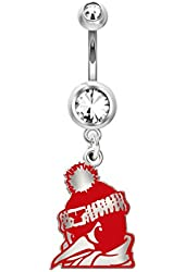 Youngstown State Penguins Belly Ring in Color Logo, Stainless Steel and Sterling Silver