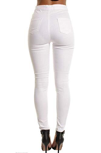 Pantalones Delgados Hole Blanco Vaqueros Color Mezclilla Alta Sólido Stretch Botones De Ripped Lápiz Arriba Cintura S1rSqx5w