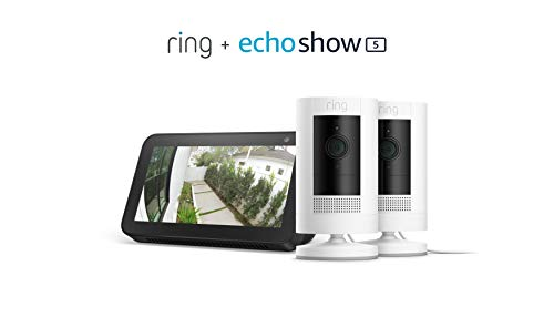Ring Stick Up Cam Plug-In 2-Pack with Echo Show 5 (Charcoal)
