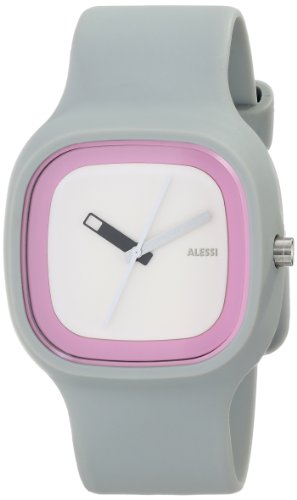 Alessi Kaj Watch (Alessi Men's AL10022 Kaj Polyurethane Grey Dial White and Pink Designed by Karim Rashid Watch )