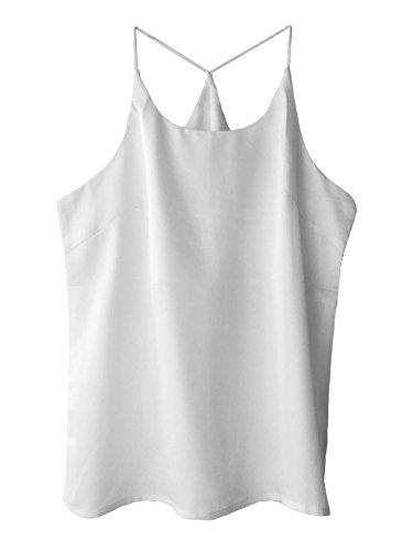 Wantschun Womens Silk Satin Camisole Cami Plain Strappy Vest Top Sleeveless Blouse Tank Shirt Asia Size ()