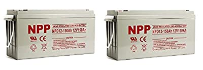 NPP NPD12-150Ah AGM Rechargeable Deep Cycle Sealed Lead Acid 12V 150Ah Battery with Button Style Terminals (2 Pack)