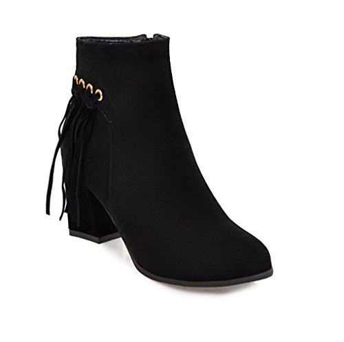 Winter Boots Female XZ Side High Autumn and Black Boots Martin Zipper Heeled YxqEOqp