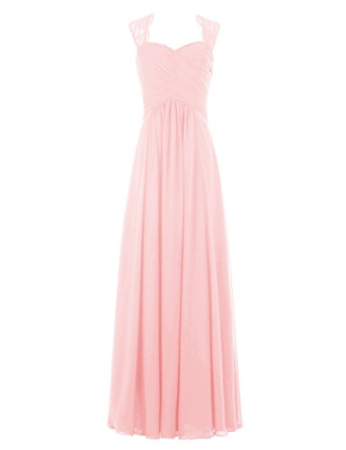 Prom Long Dress Dress Dreagel Pink Party Chiffon for Lace Women's Bridesmaid 7qxIwSY