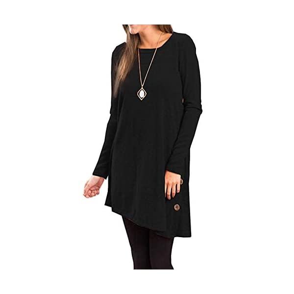 Long Sleeve Round Neck Button Side T Shirts Tunic Dress