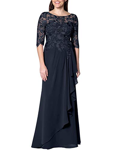 EDressy Chiffon Mother of The Bride Dresses Long Evening Formal Gowns Flora Lace Prom Party Dress Half Sleeves Navy US20W