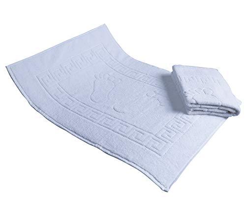 Secret Sea Collection Set of 2, Footprint Bath Mat Towel, Foot Towel, 100% Turkish Cotton, Washable, Reversible (20'' x 28'') (White)