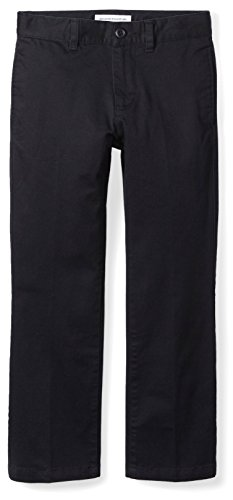 Amazon Essentials Toddler Boys' Straight Leg Flat Front Uniform Chino Pant, Black, 3T ()