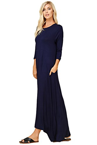 Women's Maxi Navy Casual Fit Loose Pockets Sleeve Annabelle 4 with 3 Dresses Side Awan4d