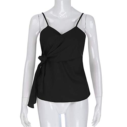 BAOHOKE Summer Fashion Casual Sleeveless Crop Solid Bandage Tops,Vest Sling,t Shirt Tops Blouse v Neck (Black,XXL) by BAOHOKE (Image #2)