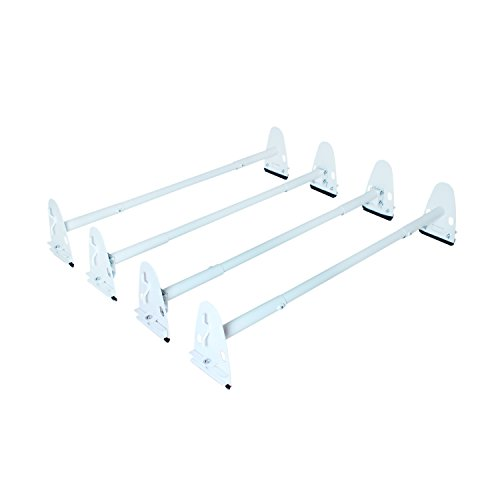 Matte White Model - AA Products Inc. AA-Racks Model X37 Heavy Duty Rain Gutter Van Roof Rack Round Four Bar Set Steel Matte White