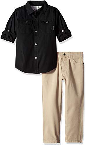 Calvin Klein Conjunto de 2 Piezas de pantalón y Camisa para niños, Negro/Caqui, 4 Años