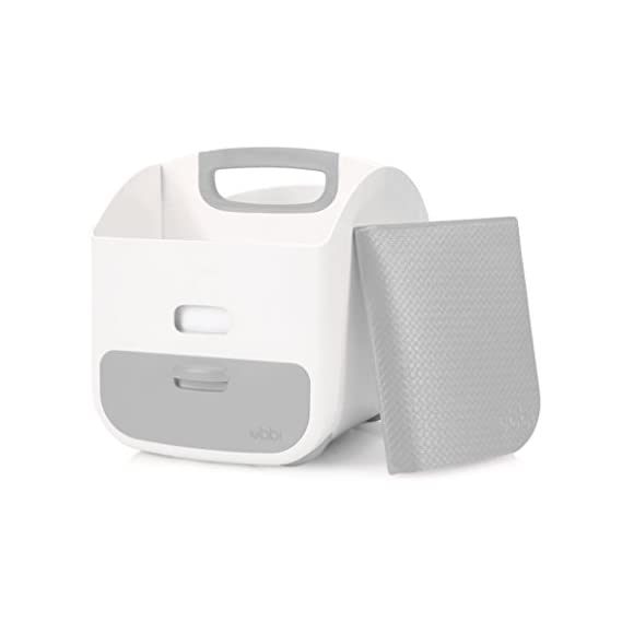 Ubbi Diaper Storage Caddy and Changing Plastic PVC Mat for Babies (Grey, One Size)