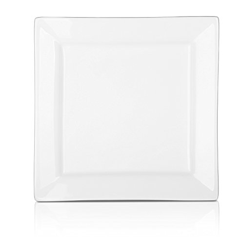 DOWAN 8 Inch Porcelain Square Plates - 8 Packs, White (Square Small White Plate)