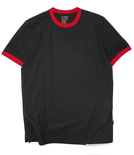 Zengjo Mens Athletic Shirts Ringer Tee Short Sleeve Crew Neck T Shirt (XL, - Ringer Tee Mens Cotton