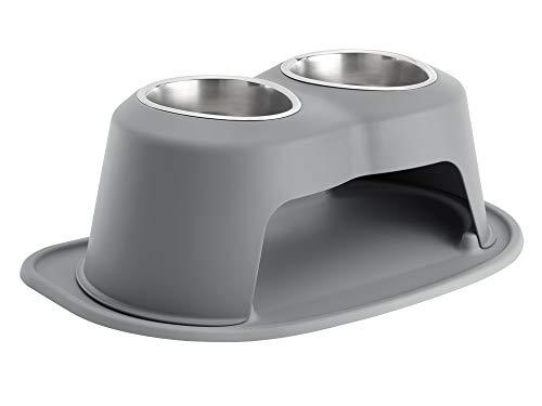 PetComfort Double High Feeding System with Standard Mat (8 inch, Dark Grey)